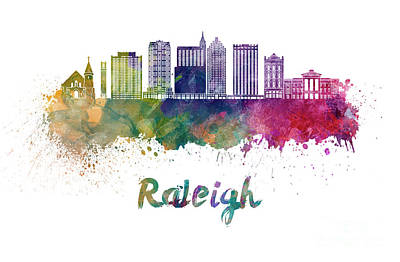 Raleigh V2 Skyline In Watercolor Poster