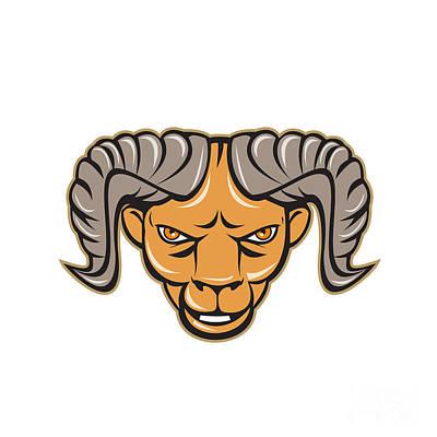 Ram Head Isolated Cartoon Poster