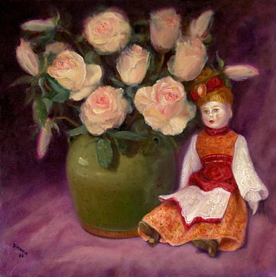 Poster featuring the painting Ramblin Rose by Donelli  DiMaria