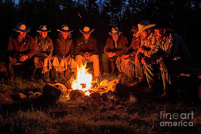 Ranch Campfire In Wyoming Poster