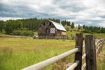 Ranch Fence And Barn With Hex Sign Poster