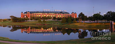 Rangers Ballpark In Arlington At Dusk Poster by Jon Holiday