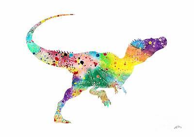 Raptor 2 Dinosaur Watercolor Poster by Svetla Tancheva