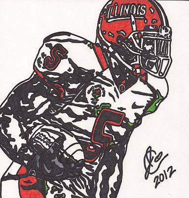 Poster featuring the drawing Rashard Mendenhall 1 by Jeremiah Colley