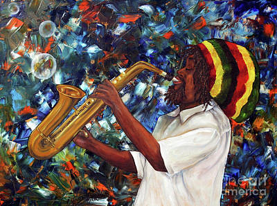 Poster featuring the painting Rasta Sax Player by Anna-maria Dickinson