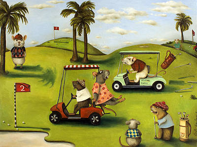 Rat Race 2  At The Golf Course Poster by Leah Saulnier The Painting Maniac