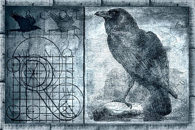 Raven Etching Photomontage Poster