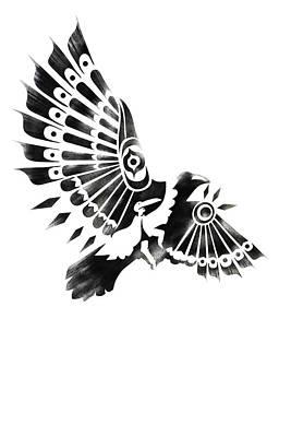 Raven Shaman Tribal Black And White Design Poster by Sassan Filsoof