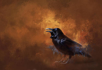 Poster featuring the painting Raven by Theresa Tahara