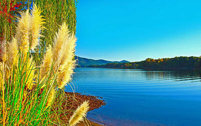 Ravenna Grass Smith Mountain Lake Poster by The American Shutterbug Society