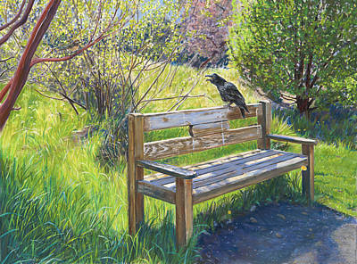 Raven's Bench Poster by Nick Payne