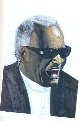Poster featuring the painting Ray Charles by Emmanuel Baliyanga