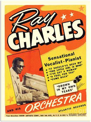 Ray Charles Rock N Roll Concert Poster 1950s Poster