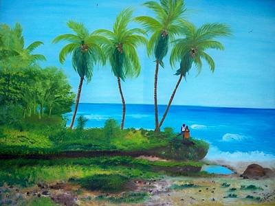 Poster featuring the painting Raymond Les Bains Beach Jacmel Haiti  2 by Nicole Jean-Louis