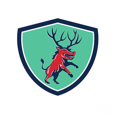 Razorback Antlers Prancing Crest Retro Poster by Aloysius Patrimonio