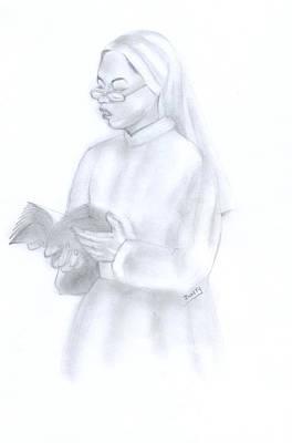Reading African Nun Poster by Emmanuel Baliyanga