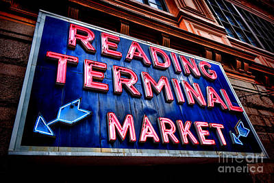 Reading Terminal Market Neon Sign Poster by Olivier Le Queinec