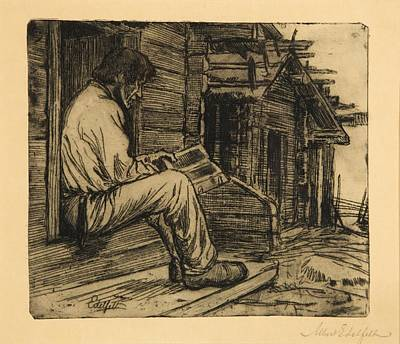 reading the Bible Poster by Albert Edelfelt