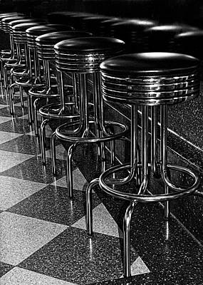 Ready For Business - Stools Along The Counter Poster by Mitch Spence