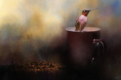 Ready For Morning Coffee - Hummingbird Art Poster