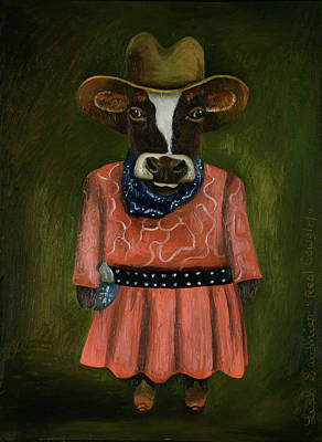 Poster featuring the painting Real Cowgirl by Leah Saulnier The Painting Maniac
