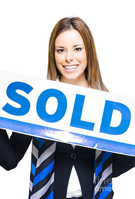 Real Estate Agent Holding Sold Sign Poster by Jorgo Photography - Wall Art Gallery