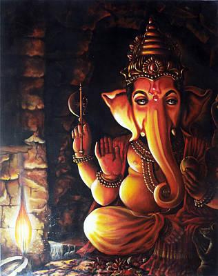 Portrait Of Lord Ganapathy Ganesha Poster by Arun Sivaprasad