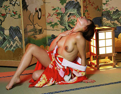 Reclining In Kimono Poster