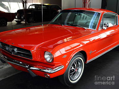 Red 1965 Ford Mustang . Front Angle Poster