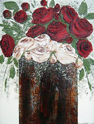Red And Antique White Roses - Original Artwork Poster