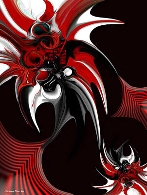 Red And Black Formation Poster by Carmen Fine Art