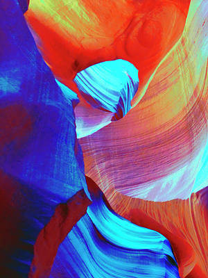 Red And Blue Abstract Swirls Poster by Marcia Socolik
