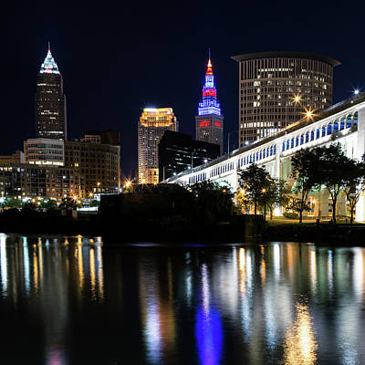 Poster featuring the photograph Red And Blue In Cleveland by Dale Kincaid