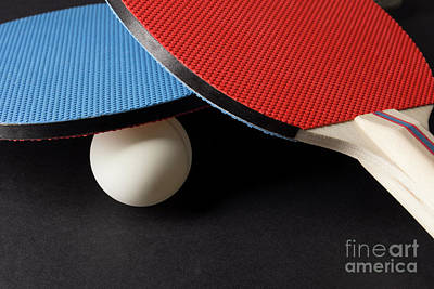 Red And Blue Ping Pong Paddles - Closeup On Black Poster