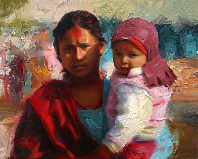 Red And Blue Portrait Of Nepalese Mother And Child Poster by Karen Whitworth