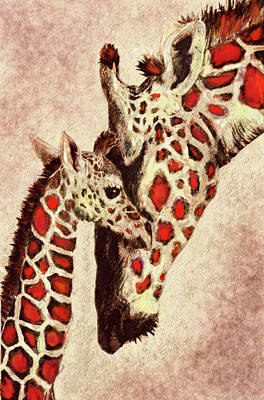 Red And Brown Giraffes Poster