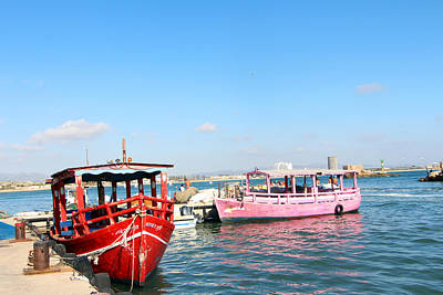 Red And Pink Boats Poster by Munir Alawi