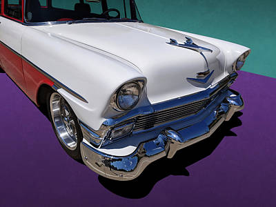 Red And White 1950s Chevrolet Wagon Poster