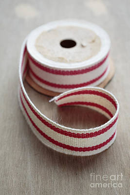 Red And White Ribbon Spool Poster