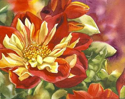 Red And Yellow Dahlias Watercolor Poster by Alfred Ng