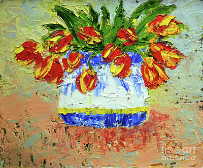 Red And Yellow Tulips Poster by Lynda Cookson