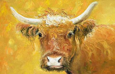 Red Angus Cow Poster by Jan Matson