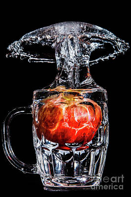 Poster featuring the photograph Red Apple Splash by Ray Shiu