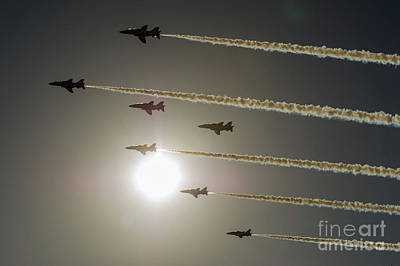 Poster featuring the photograph Red Arrows Backlit Arrival  by Gary Eason