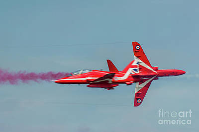 Poster featuring the photograph Red Arrows Crossover by Gary Eason