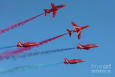 Poster featuring the photograph Red Arrows Enid Break by Gary Eason