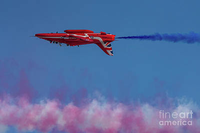 Poster featuring the photograph Red Arrows Hawk Inverted  by Gary Eason