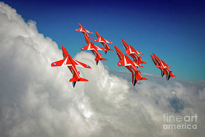 Poster featuring the photograph Red Arrows Sky High by Gary Eason