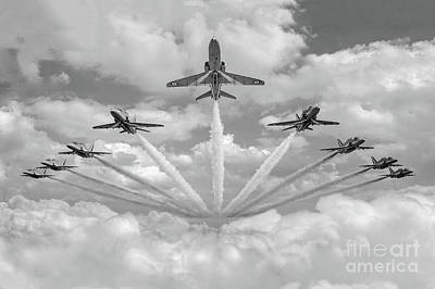 Poster featuring the photograph Red Arrows Smoke On Bw Version by Gary Eason