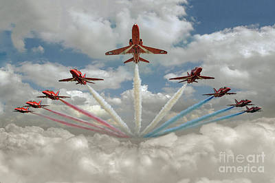 Poster featuring the photograph Red Arrows Smoke On  by Gary Eason